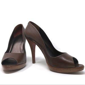 Aldo Brown Leather Open Toe Platform Pump